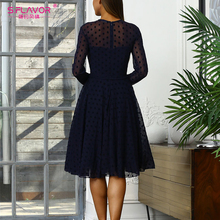 S.FLAVOR Fashion Mesh Patchwork Dot Print Dress New O Neck Sexy Party Vestidos Women Long Sleeve Knee Legnth A line Dress Spring