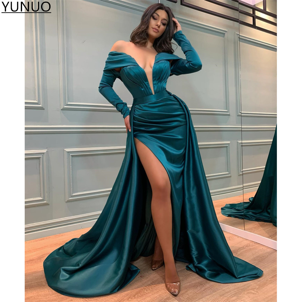 YUNUO Arabic Evening Prom Dresses abendkleider 2021 Long Sleeve High Side Split Satin Mermaid Sexy Party Dress robe de soirée
