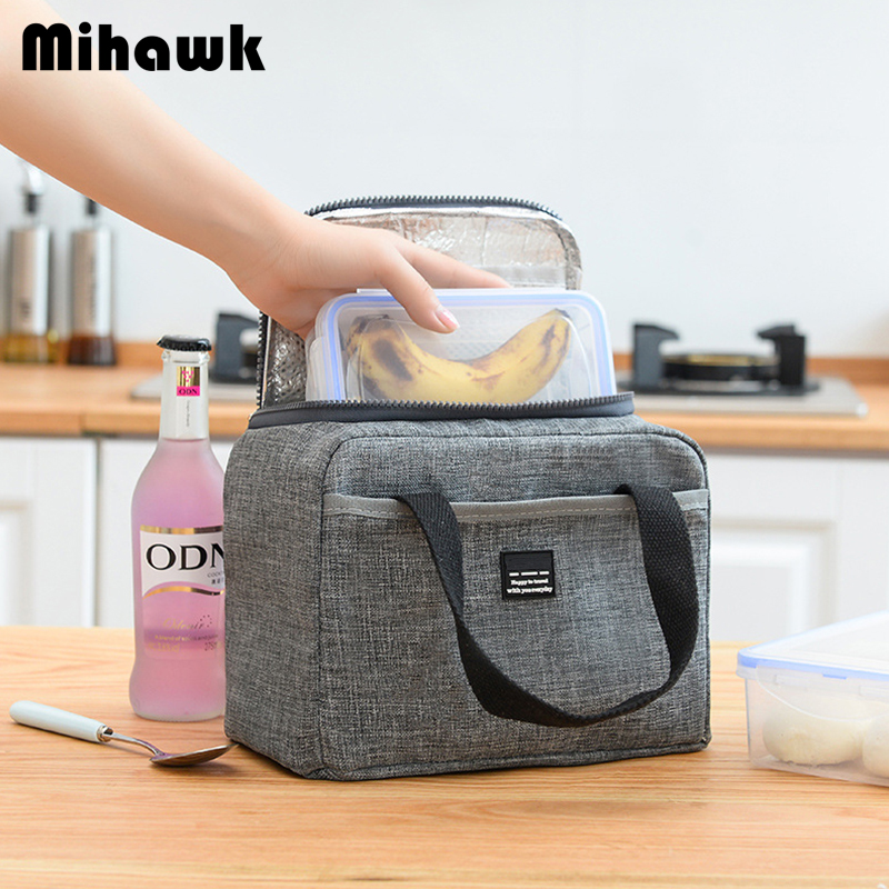 Mihawk Waterproof Insulated Lunch Bags Oxford Travel Necessary Picnic Pouch Unisex Thermal Dinner Box Food Case Accessories Gear