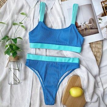 INGAGA High Waist Bikinis Swimsuits Bandeau Swimwear Women Splicing Biquini Beachwear Sports Ribbed Bathing Suits New 7
