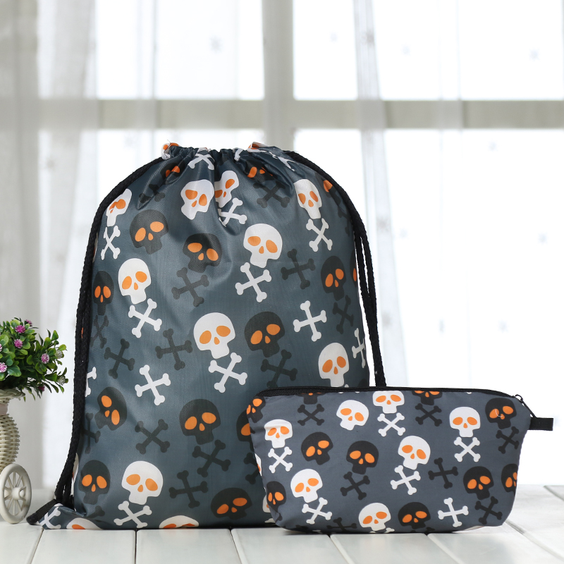 Drawstring Suit Backpack Drawstring Bags Fashion Skull Printing Men Casual Bags Unisex Women's Shoulder 3D Bag Factory New Tie