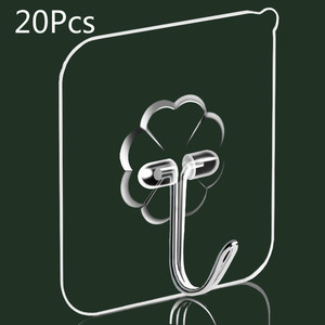 20PCS Nano-Glue Strong Transparent Suction Cup Suction Cup Hook Kitchen Bathroom Hanger Hook 6 * 6cm Punch-free Seamless Hook