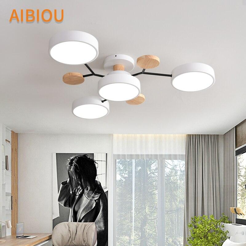 AIBIOU современный 220 В светодиодный потолочный светильник с круглыми металлическими абажурами для гостиной, скандинавские деревянные потолочные светильники для спальни - 3