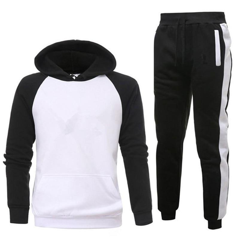 Brand Clothing Men's Sets Two Pieces Casual Sweatshirts Cotton Men Tracksuit Hoodies+ Pants Sport Shirts Autumn Winter Set(China)