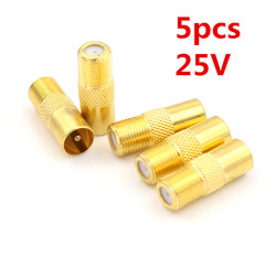 5pcs 25V Coaxial Coax RF Adapter Connectors TV PAL Male Plug to