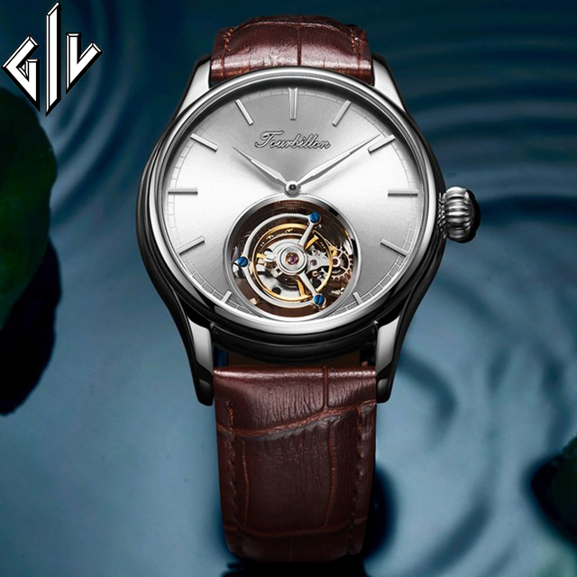 GIV Tourbillon Watch Men Hand Wind Sapphire Mens Mechanical Watch Top Luxury Brand Fashion Clock Male Relogio Montre Homme