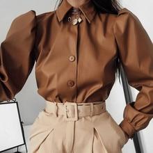 Осень зима женский сексуальный кожаный пиджак длинный Пышный рукав однобортный уличная мода верхняя одежда Коричневое Пальто модная одежда