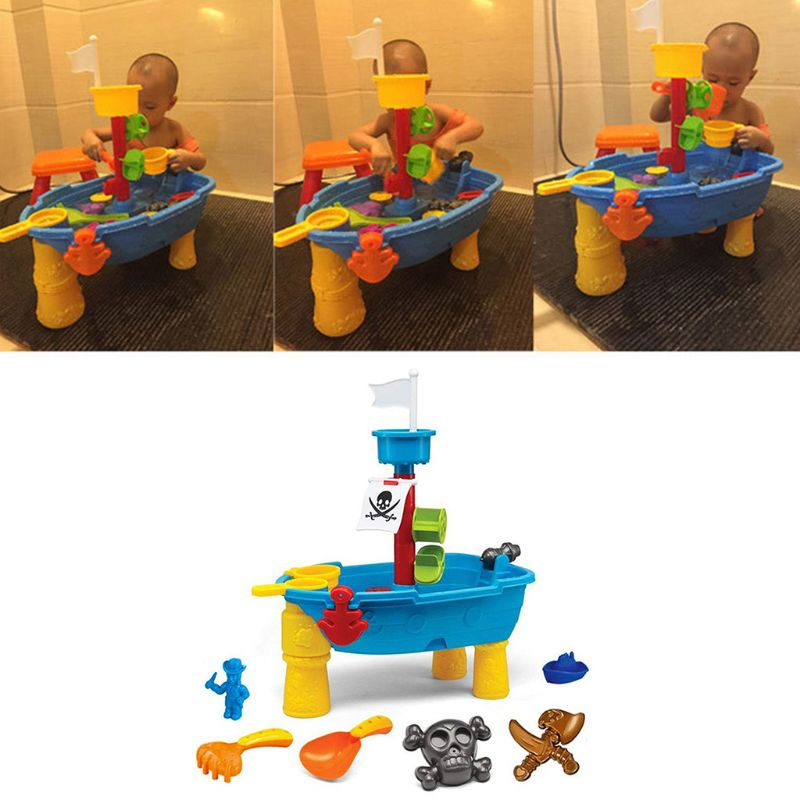 Kids Sand Water Play Table Pirate Ship Inside Outdoor Seaside Beach Garden Toy 95AE