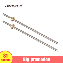 t8 lead screw 250mm 300mm 330mm 350mm 400mm 3d printer parts od 8mm pitch 2mm stainless steel with brass nut недорого