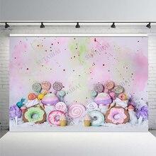 Cotton Candy Bar lecca lecca ciambelle rosa compleanno fotografia sfondi personalizzati fondali fotografici per Studio fotografico