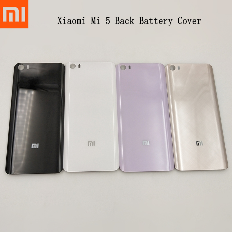 Original <font><b>Xiaomi</b></font> mi 5 <font><b>mi5</b></font> Back <font><b>Battery</b></font> <font><b>Cover</b></font> Glass Rear Door Housing Case Cove Panel Replacement phone case with Adhesive Sticker image