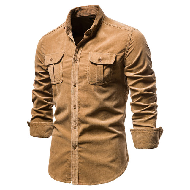 2020 New Single Breasted 100% Cotton Men's Shirt Business Casual Fashion Solid Color Corduroy Men Shirts Autumn Slim Shirt Men 1