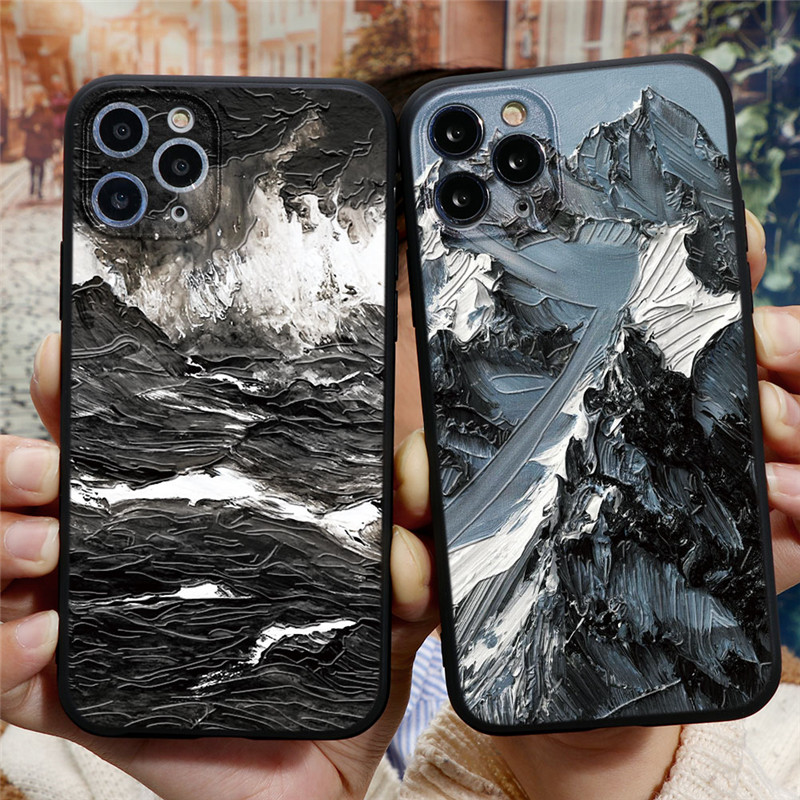 3D Emboss Mountain Silicon Phone Case For Coque iPhone 6 7 6S 8 Plus 5 5S SE 2020 10 X XR XS 11 12 Pro Max TPU Relief Back Cover
