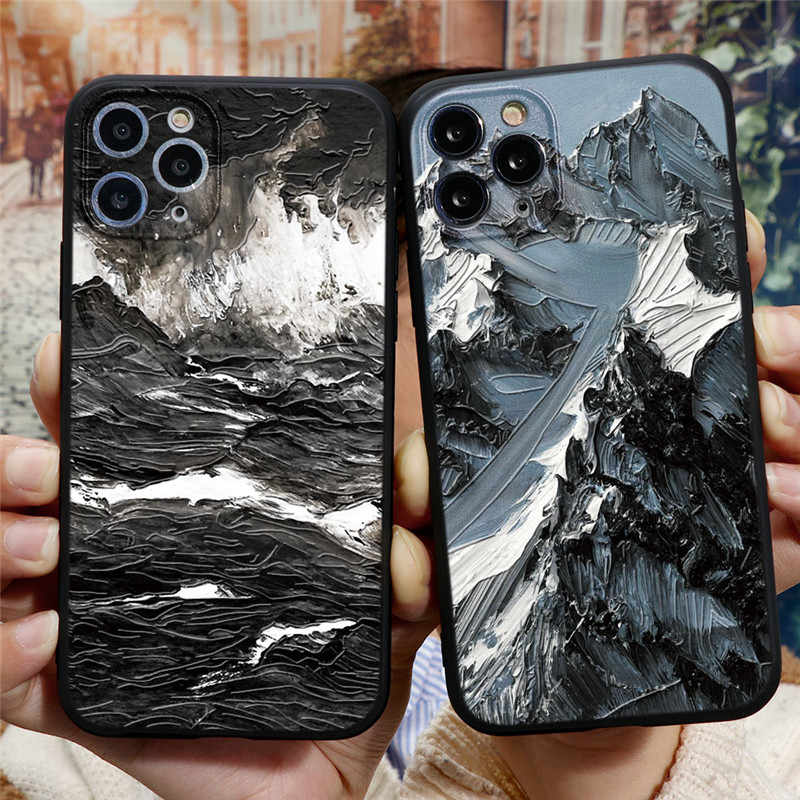 3D Emboss Mountain Silicone Phone Case For Coque iPhone 6 s 7 6S 8 Plus 5 q50