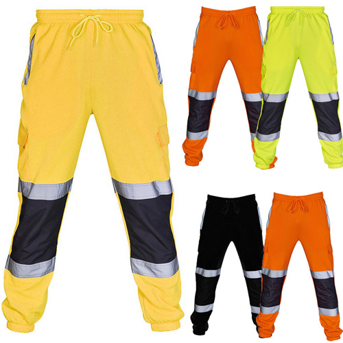 Fashion Men's Reflective Safety Work Sweatpants Casual Men Fleece Bottoms Jogging Trousers Joggers