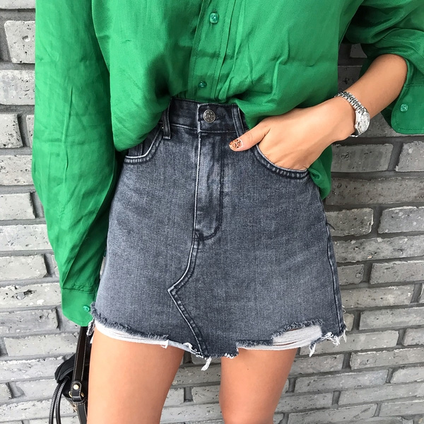 Women's Denim Skirt 2020 Summer Was Thin And Old Hand-worn Torn Edge High Waist Denim Skirt A-line Skirt