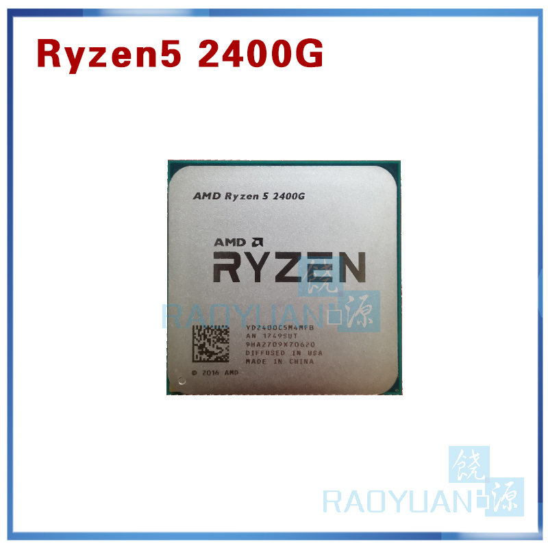 AMD Ryzen 5 2400G R5 2400G 3.6 GHz Quad-Core Quad-Thread 65W CPU Processor YD2400C5M4MFB Socket AM4