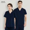 Short Sleeve V-neck Uniform Solid Color Nursing Scrubs Tops Beauty Salon Clothing Women Fashion Scrubs Work Wear & Uniforms