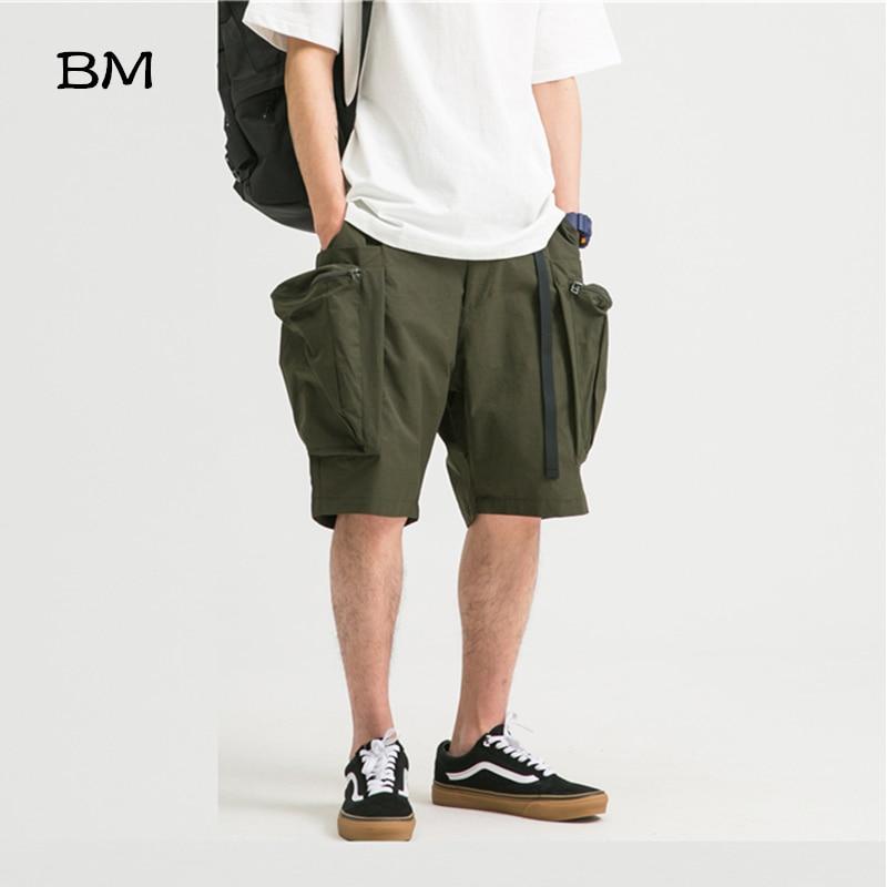 Streetwear Loose Plus Size Casual Shorts 5XL Hip Hop Harajuku Big Pocket Shorts For Men Korean Clothing Cotton Cargo Shorts Male