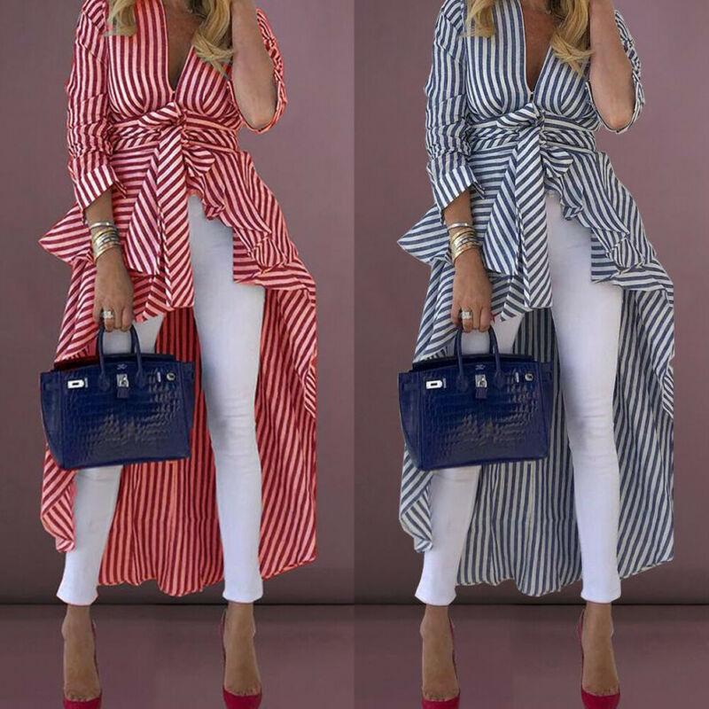 Women Striped Shirt Long Sleeve Asymmetrical Waterfall Shirt Office Lady Deep V Neck High Low Belted Oversized Blouse Streetwear