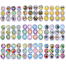 10pcs/lot Mix Style Glass 12mm Snap Button Jewelry Fit Bracelet Earrings Necklace Buttons For