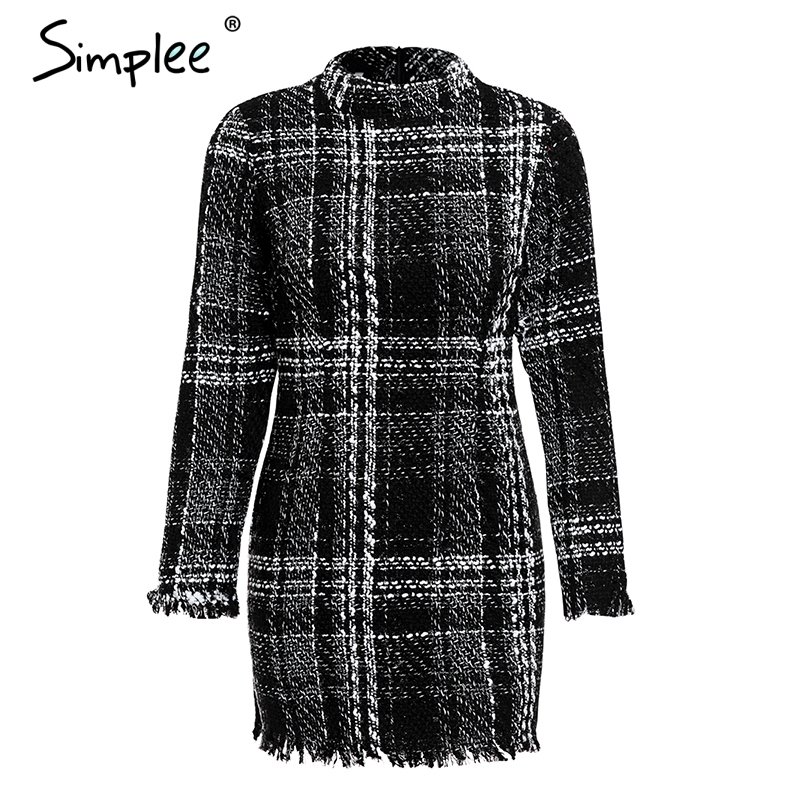 Image 4 - Осеннее и зимнее женское платье Simplee, в клетку, элегантное  твидовое офисное платье, теплое красное винтажное мини платье с длинным  рукавомПлатья