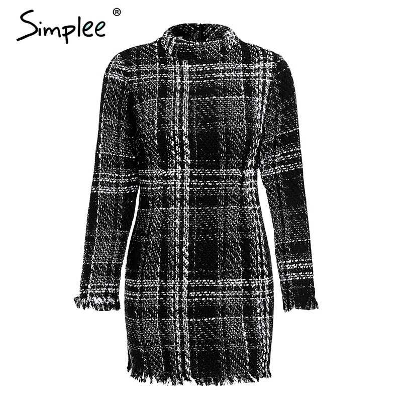 Осеннее и зимнее женское платье Simplee, в клетку, элегантное твидовое офисное платье, теплое красное винтажное мини-платье с длинным рукавом