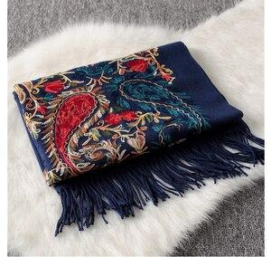 Image 4 - Luxury brand New women scarf high quality Embroider Flower winter cashmere scarves lady shawls wraps female pashmina echarpe