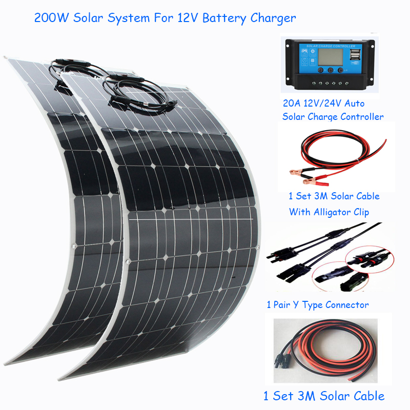 200W 12V Mono Flexible Solar Panel W//10A Controller For Car Phone Charge Panel