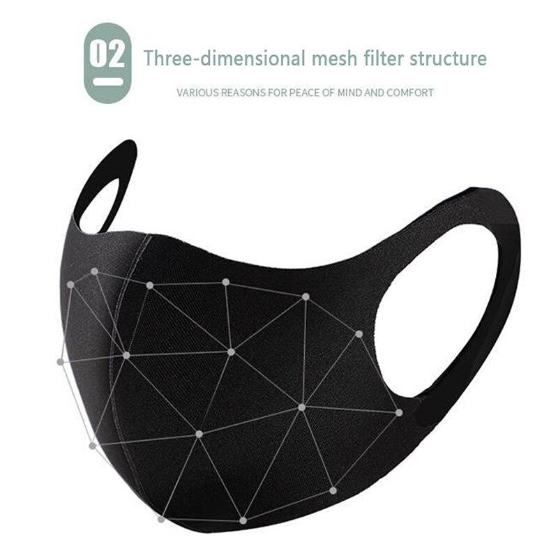 Fashionable Non-disposable Dust-proof Breathable Masks Black 1 Pack Individually Reusable Washable Black Masks 1