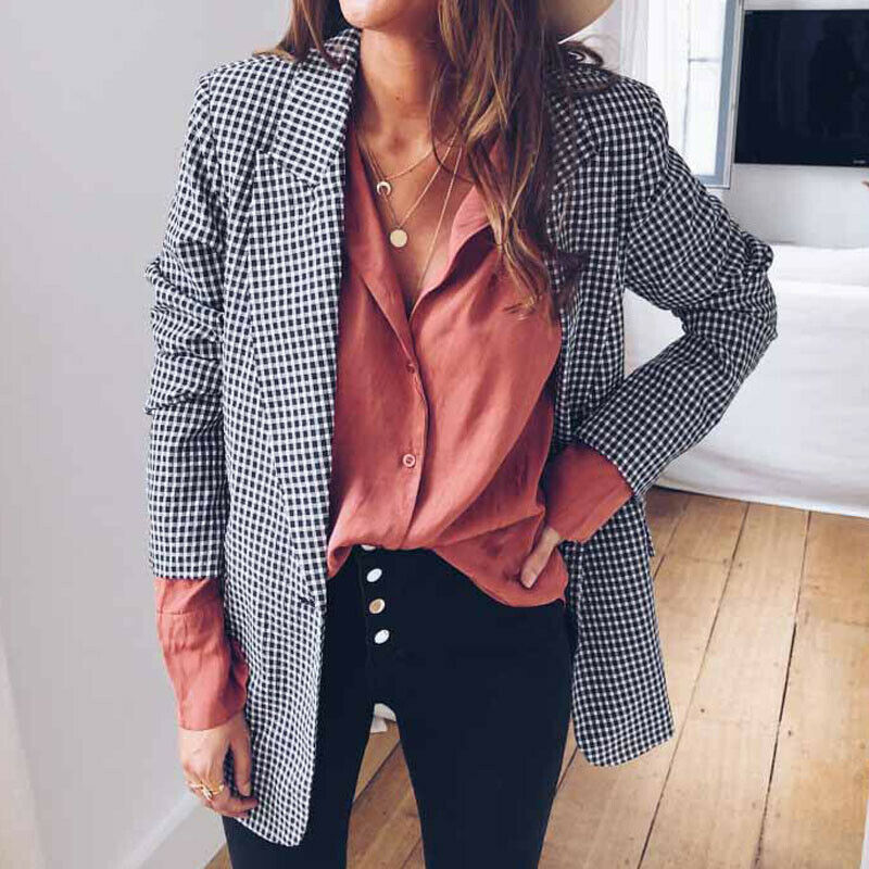 Meihuida Women OL Plaid Blazer Autumn Winter Elegant Long Sleeve Slim Gingham Check Jacket Lapel Tops Coat Outwear