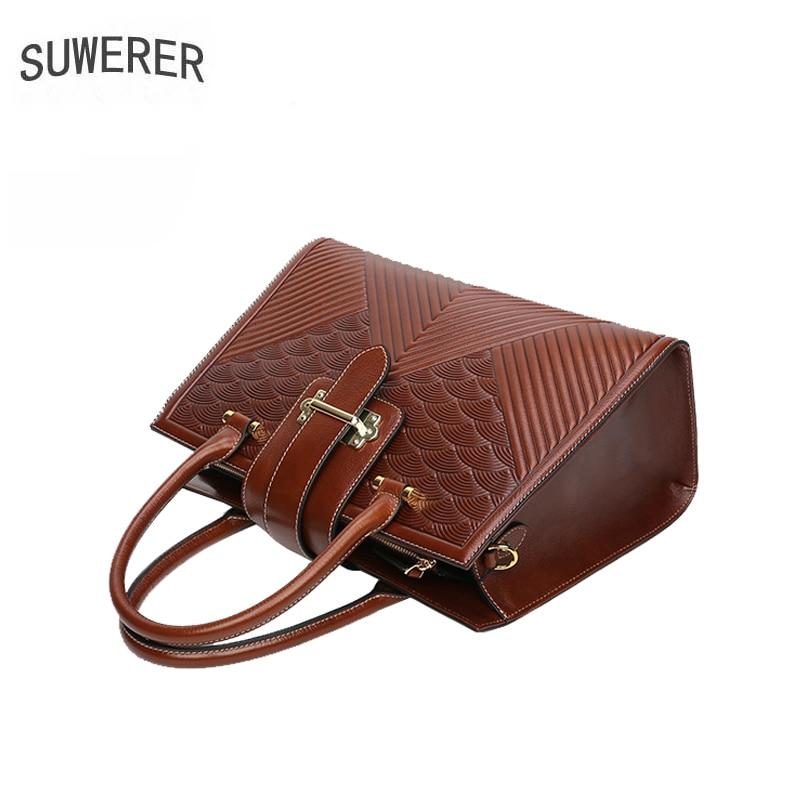SUWERER Genuine Leather women handbag fashion Genuine Leather women bags for women 2020 new luxury handbags women bags designer