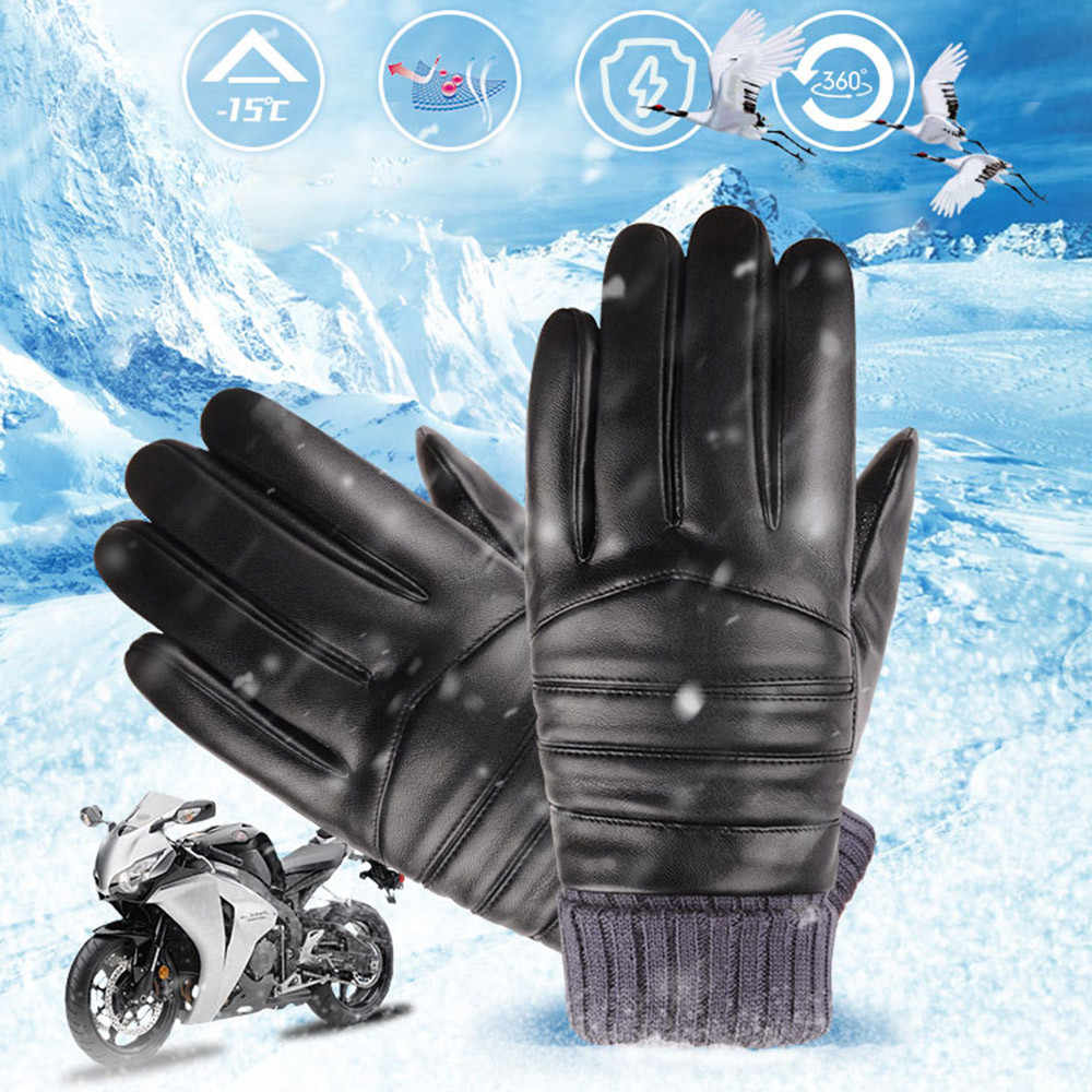 Winter Gloves Men's Windproof Waterproof Bicycle Leather Gloves Protective Slip Plus Velvet Thickening Gloves Luvas Motociclismo