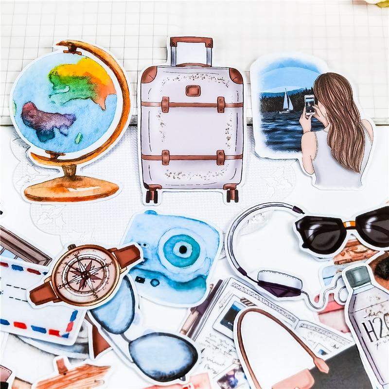 24pcs cute Globe airplane travel journey Stickers Diy Scrapbooking Photo Album Decorations Label Sti