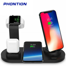 4 In 1 Wireless Charger Dock Station 10W Qi Fast Charging Stand for iWatch iPhone 8 X XS XR 11Pro Airpods Xiaomi Huawei Samsung accezz 3 in 1 10w 7 5w qi fast wireless phone charger for iphone 8 plus x xs max xr for airpods for samsung lighting charging