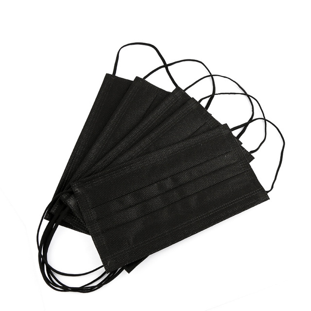 10/50/100 Pcs Mouth Mask Disposable Black Cotton Mouth Face Masks Non-woven Mask  3 Filter Activated Anti Pollution 5