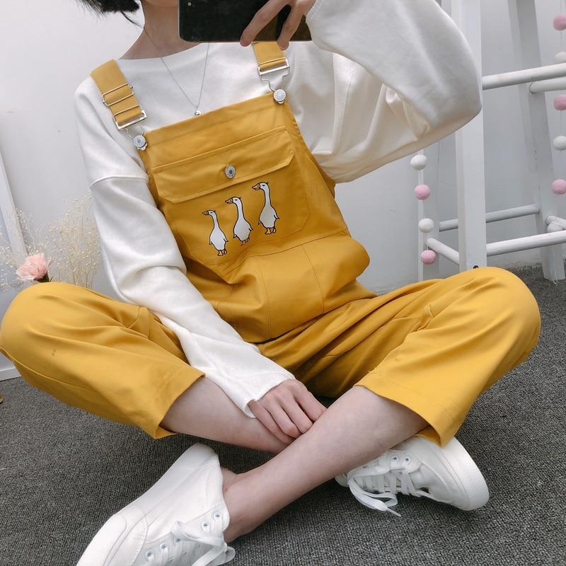 Discount²Jumpsuits Women Korean-Style Kawaii Strap Ankle-Length Chic Cartoon Popular Pocket BF