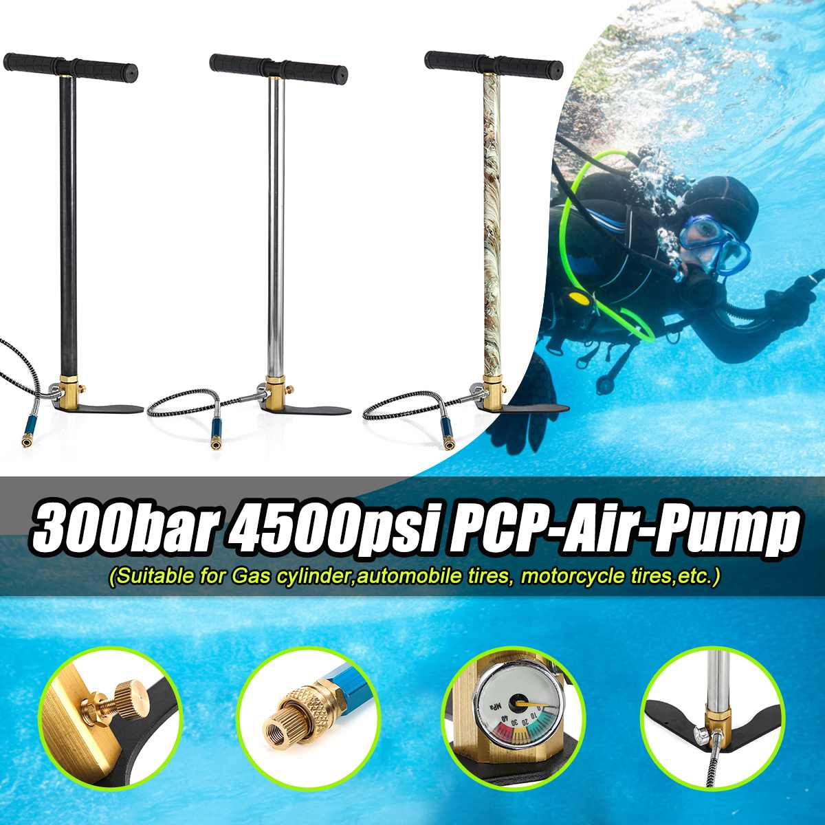 3stage PCP spray gun manual pump stirrup gas filter table valve 4500psi air pump