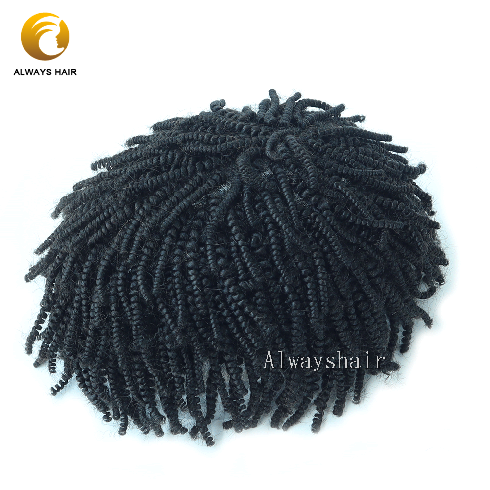 Alwayshair 2mm Small Curl Mens Afro Toupee Accpet Custom Wave Toupee 2020 New Style Cute Fashion Men Hair Patch For Black Men