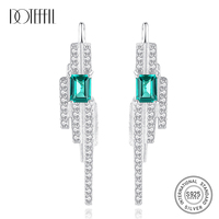 DOTEFFIL 925 Charms Sterling Silver Square Emerald Blue Green Gemstone with Tiny CZ Stud Earrings for Women Fine Jewelry Party