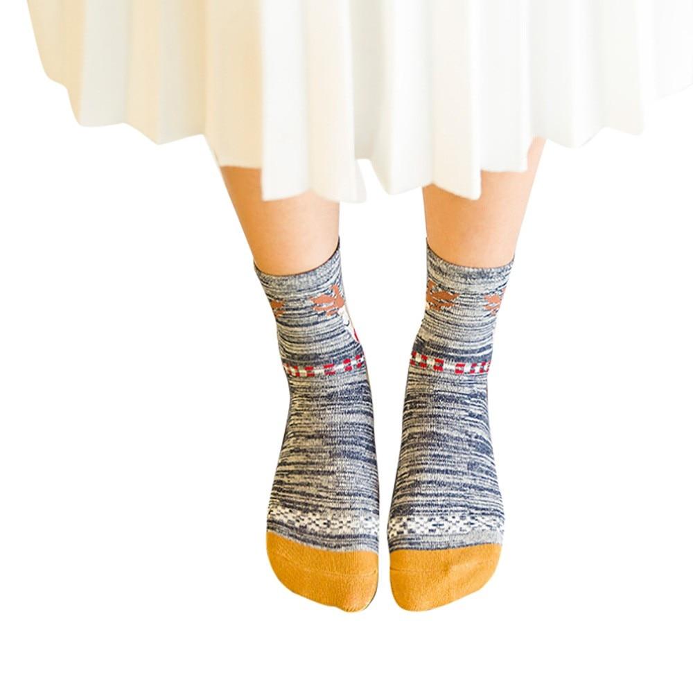 2019 Christmas Women Socks Casual Work Elk Print Cotton Warm Funny Socks Casual Calcetines Hombre Sock Business Male Socks 9.10