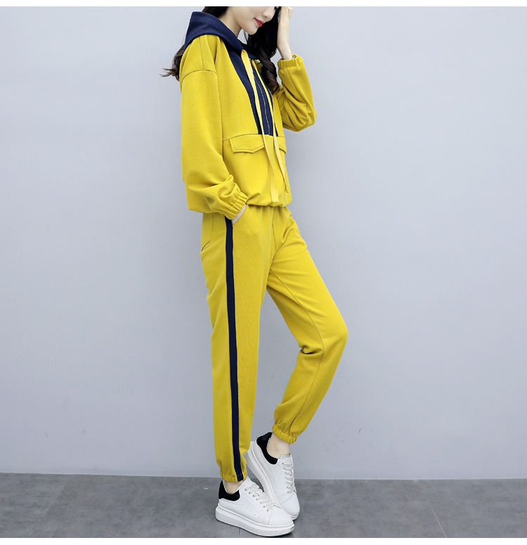 Plus Size Yellow Sport Two Piece Outfits Sets Tracksuits Women Hooded Sweatshirt And Pants Suits Casual Fashion Korean Sets 2019 40