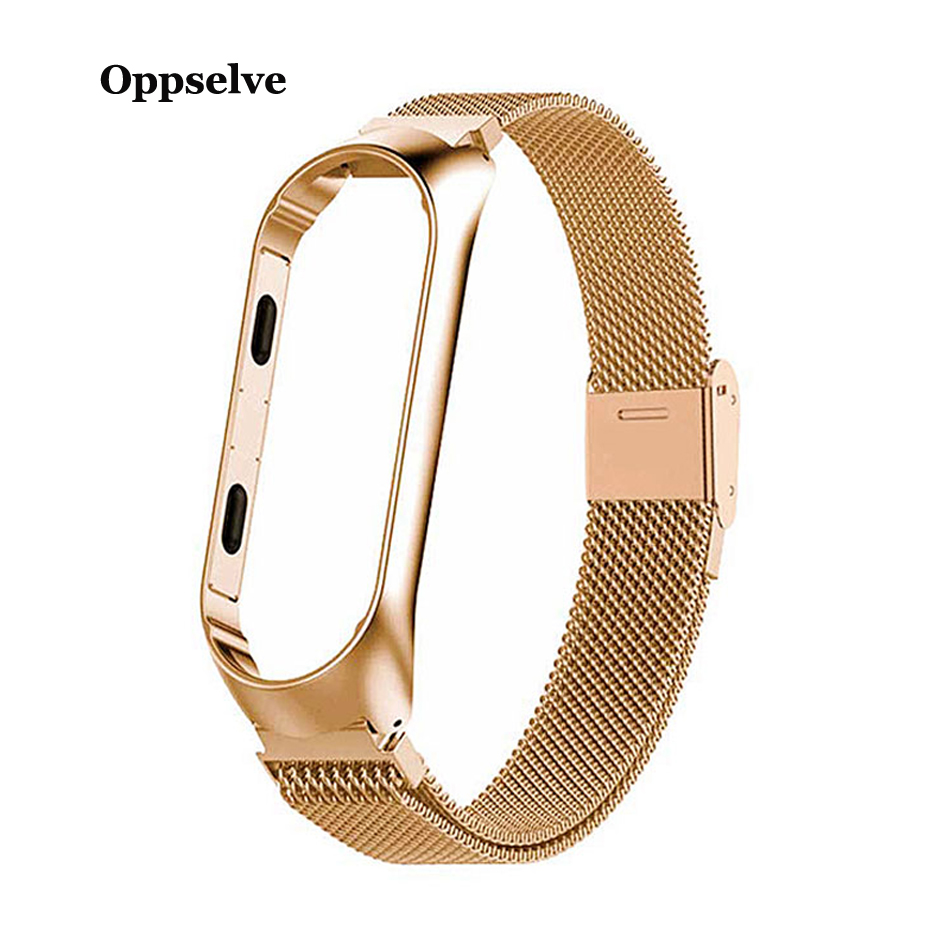 For <font><b>Xiaomi</b></font> <font><b>Mi</b></font> <font><b>Band</b></font> <font><b>4</b></font> <font><b>Band</b></font> 3 Strap Metal Wristband Bracelet Replacement for Xiomi <font><b>Band</b></font> <font><b>Mi</b></font> band4 <font><b>mi</b></font> band3 Belt <font><b>Correa</b></font> Accessories image