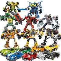 Super Racers Geschwindigkeit Champions Kompatibel Stadt Racing Auto Transformation Roboter Fahrzeuge Bausteine Spielzeug für Kinder
