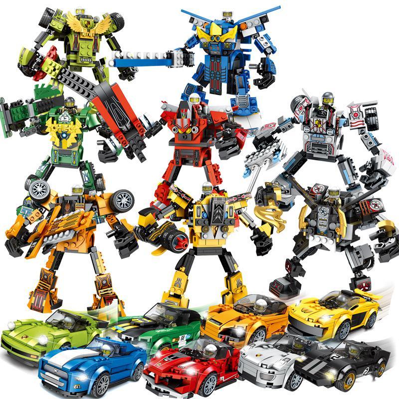Super Velocidade de Pilotos Campeões Compatível City Racing Car Veículos de Transformação Robot Building Blocks Brinquedos para Crianças