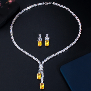 Image 5 - CWWZircons Dazzling African Cubic Zircon Womens Wedding Necklace Jewellery Set Bridal Party Costume Jewelry Accessories T374