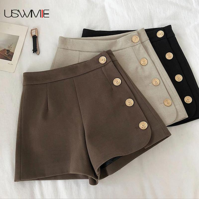 High Waisted Shorts For Women Fashion Skinny Comfort Design High Waist Wide Leg Button Casual Solid Color Shorts Women