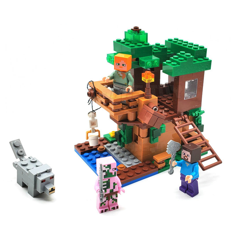 The Tree House Small Building Blocks Sets With Steve Action Figures Compatible My World MinecraftINGlys Sets Toys For Children