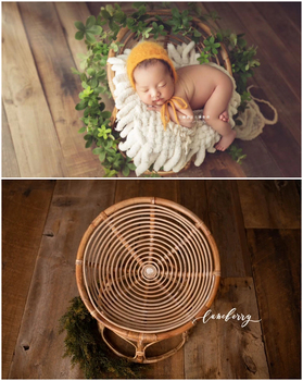 Dvotinst Newborn Photography Props for Baby Handmade Rattan Retro Posing Cribs Bed Studio Accessories Shoots Infant Photo Props