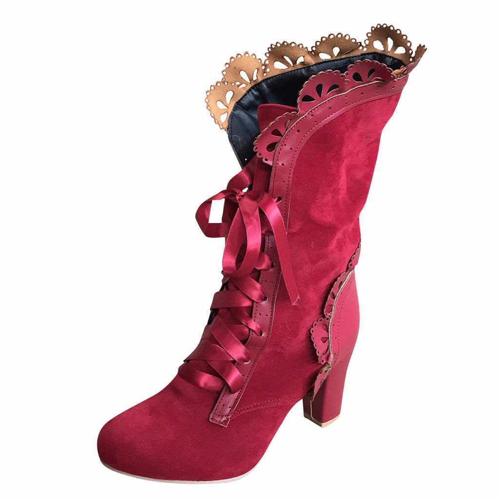 รองเท้าผู้หญิงฤดูหนาวขนาดใหญ่ฤดูใบไม้ร่วง Lacing รองเท้าส้นสูง Cross-Strap สไตล์อังกฤษรองเท้า Lace-Up กลาง Boot รองเท้า Elegant